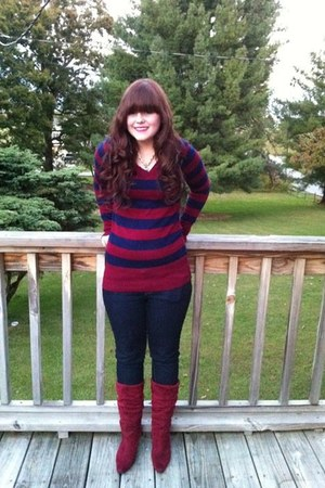 maroon velvet boots - navy skinny Forever 21 jeans - maroon striped navy sweater