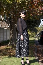 black chiffon Gorman top - black silk vintage skirt skirt - black suede Matiko w
