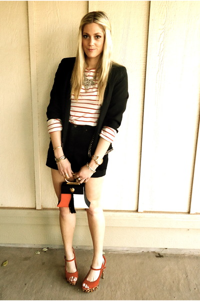 white Loft shirt - black vintage shorts - red Jessica Simpson heels