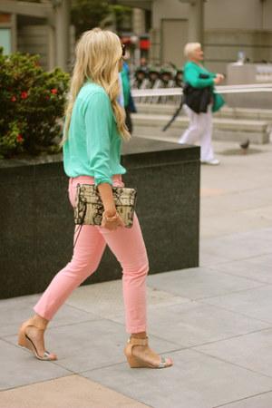 aquamarine Equipment blouse - silver sam edelman sandals