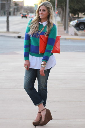 blue Old Navy sweater - carrot orange asos bag - camel Fabulous on A Dime wedges