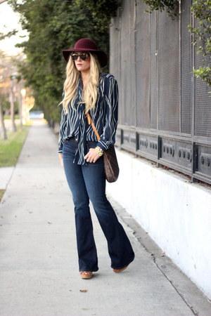 navy J Brand jeans - dark brown Louis Vuitton bag