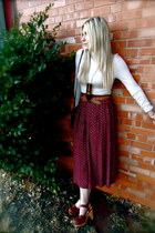 beige Nordstrom shirt - crimson vintage skirt - dark brown Jeffrey Campbell clog