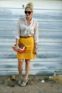 Carrot-orange-sam-moon-bag-dark-brown-target-belt-white-maude-blouse