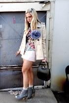 camel Forever 21 coat - light pink Forever 21 skirt - turquoise blue vintage blo