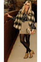 Forever 21 cape - thrifted vintage blouse - Lulus shorts - Target stockings - Re