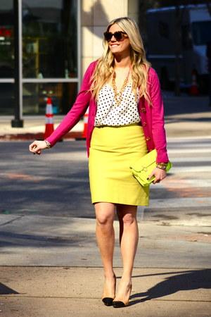 bronze Zara heels - magenta tory burch sweater - chartreuse J Crew skirt
