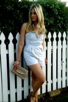 sky blue Threads 4 Thought romper - camel vintage bag