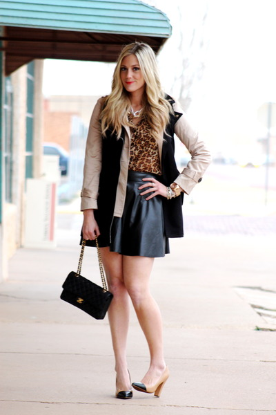 camel Zara pumps - dark brown Old Navy shirt - black Chanel bag
