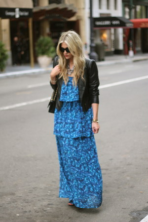 blue patterson j kincaid dress - black Zara jacket