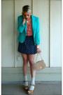 Turquoise-blue-vintage-blazer-navy-gap-skirt-salmon-ny-company-blouse