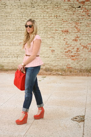 red asos bag - navy Gap jeans
