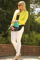 lime green Zara blazer - navy BCBG wedges