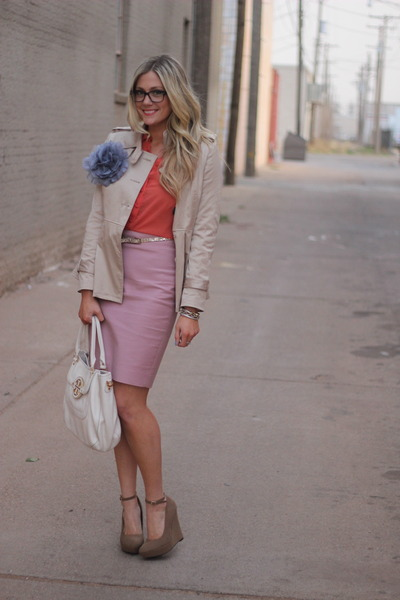 bubble gum J Crew skirt - white tory burch bag