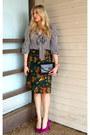 Black-lulus-blouse-forest-green-vintage-skirt-hot-pink-steve-madden-heels