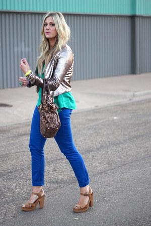 gold BB Dakota blazer - blue Jolt pants - turquoise blue Old Navy blouse