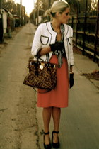 white Dillards coat - dark brown Michael Kors bag - black neiman marcus gloves -