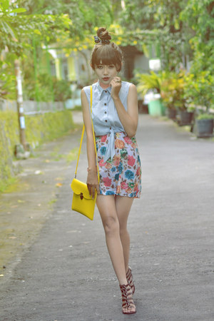 cut out Bazaar top - floral Bazaar skirt - brown Yongki Komaladi wedges