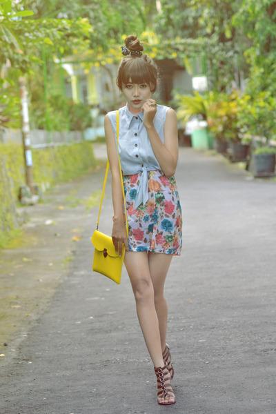 cut out Bazaar top - floral Bazaar skirt - brown Yongki Komaladi wedges