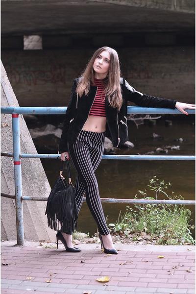jacket - bag - heels - pants - top