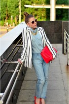 blazer - shoes - jeans - shirt - Zara bag - ring