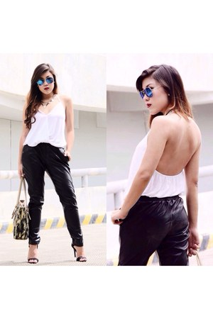 leather Forever 21 pants - sexy back Zara blouse