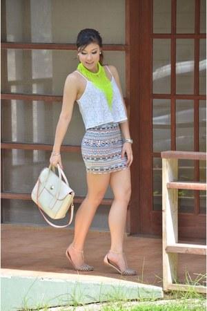 skirt - bag - Topshop top - H&M accessories - Zara sandals