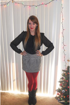 black Steve Madden boots - ruby red Express tights - black unknown skirt
