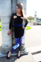 blue galaxy unknown tights - black Nasty Gal dress - purple Target flats