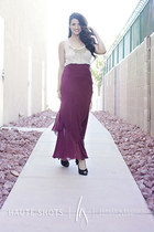 chiffon maxi Marshalls skirt - satin Marshalls heels - sheer Rhapsodielle blouse