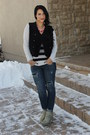 Seychelles-boots-ripped-stretch-american-eagle-jeans-striped-jcrew-sweater