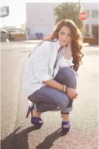 suede platforms Steve Madden heels - boyfriend thrifted jeans - tuxedo shirt