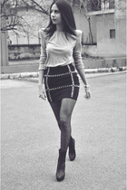 black Forever New skirt - silver Zara top - black Zara boots - gray penti tights