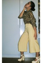 bronze leopard print thrifted blouse - nude vintage pants