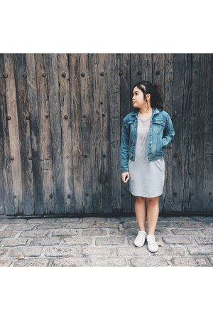 silver thrifted dress - sky blue denim Accessorize jacket