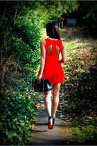 red playsuit Motel Rocks dress - black classic Chanel bag