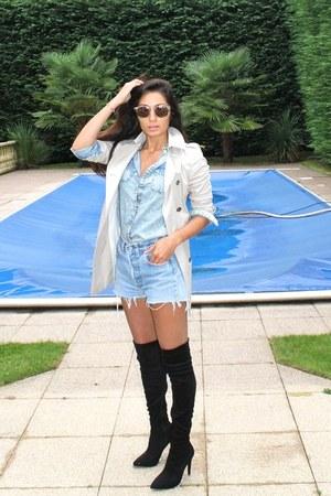 denim shirt Topshop shirt - Casadei boots - mac Zara jacket
