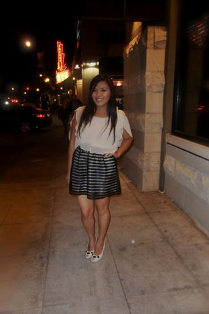 beige Love 21 top - black Forever 21 skirt - beige Miu Miu shoes