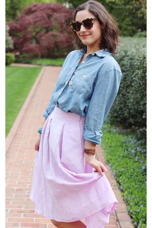 periwinkle Zara skirt - sky blue chambray J Crew shirt - brown sunglasses