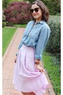 Sky-blue-chambray-j-crew-shirt-brown-sunglasses-periwinkle-zara-skirt
