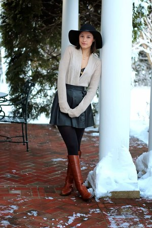 black skirt - bronze Michael Kors boots - black felt hat hat - tan sweater
