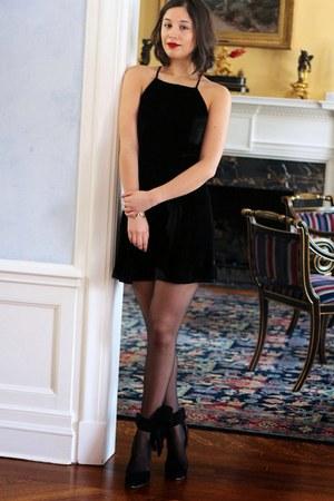 black dress - black tights - black heels
