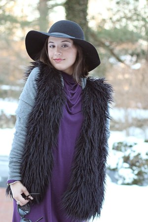 black vest - purple dress - black hat - silver sweater