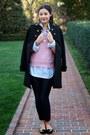 Black-velvet-shoes-shoes-black-military-coat-zara-coat-bubble-gum-sweater