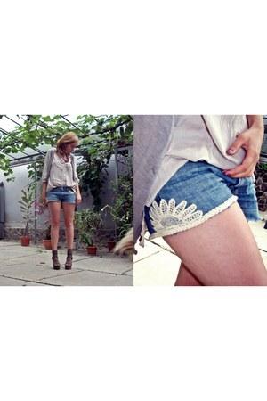 H&M shirt - jeans DIY shorts - united colors of benetton vest - asos sandals