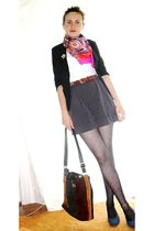pink vintage scarf - gray H&M tights - brown picard purse - white H&M top - blue
