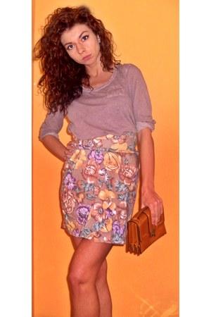floral print skirt - burnt orange H&M purse - light purple H&M blouse