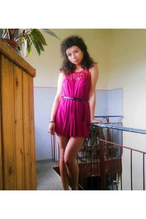 hot pink H&M dress - black H&M belt