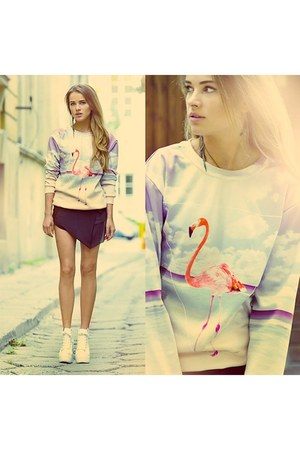 sky blue flamingo sweatshirt