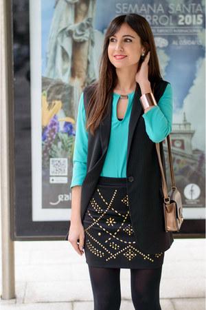 Forever 21 skirt - Zara shirt - suiteblanco bag - Mango vest